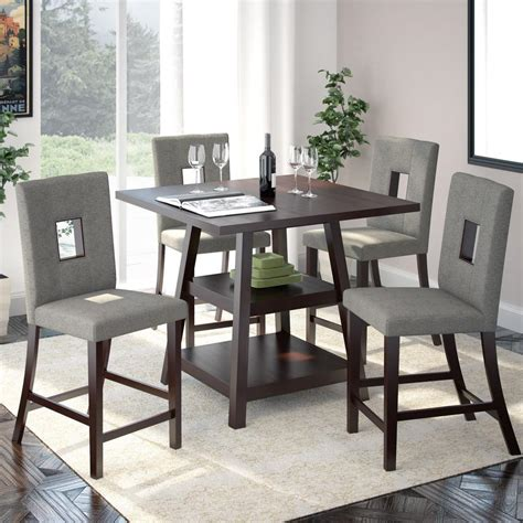 corliving bistro  piece cappuccino  pewter grey dining