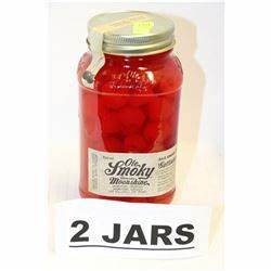 2 JARS OF OLE SMOKY CHERRIES MOONSHINE