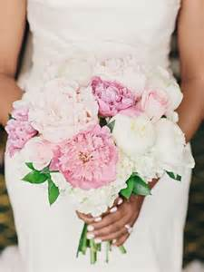 White Hydrangea and Pink Peonies Wedding Bouquet