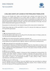 5 dos and 5 don39ts of a good cv for freelance translator With freelance translator resume
