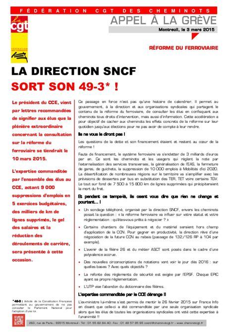 si鑒e cgt montreuil appel à la greve la direction sncf sort 49 3 tract cgt