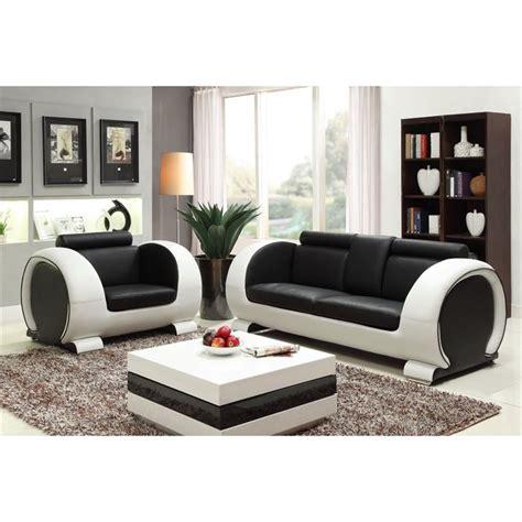 canape noir et blanc ensemble canapé 3 places fauteuil cuir