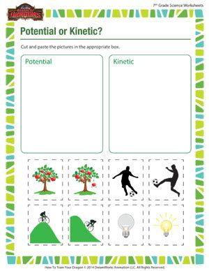 printables  kinetic  potential energy worksheet