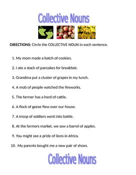 collective nouns worksheet products nouns worksheet