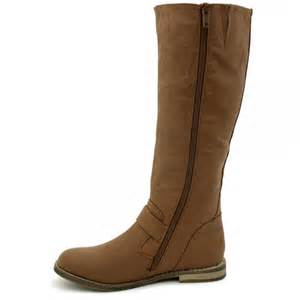 womens flat leather boots sale womens flat leather style knee high buckled biker boots from buy uk