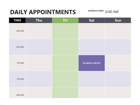 Appointment Schedule Template  7+ Free Sample, Example