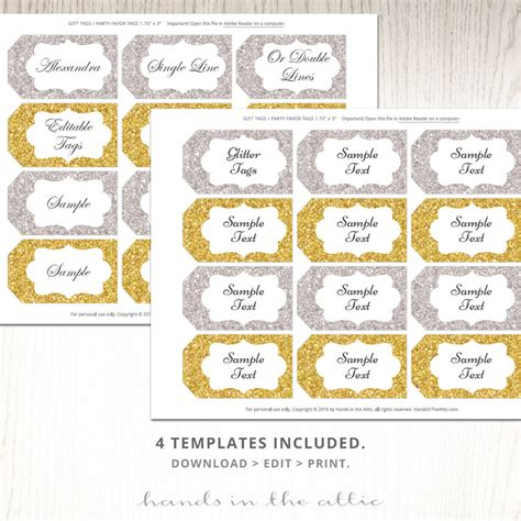 editable glitter gift tags printable silver gold