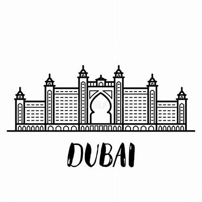 Dubai Atlantis Palm Letterin Line Arte Illustrazione