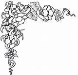 Flowers Outlines Coloring Border Flower Clip Popular sketch template