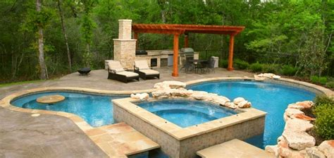 Impressive Pool And Outdoor Kitchen Designs Backyard With