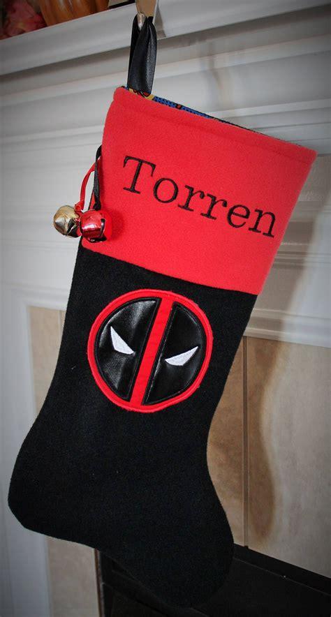 deadpool christmas stocking embroidered