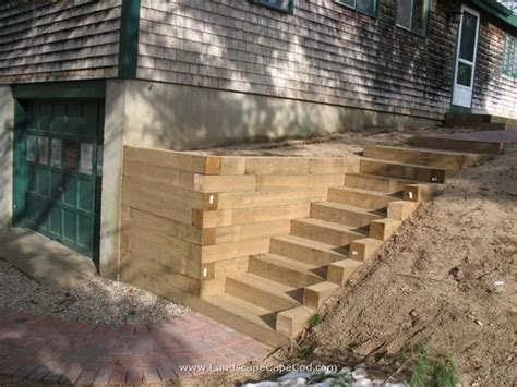 timber retaining wall design ideas for landscape timbers timber retaining wall stairs outdoor ideas pinterest