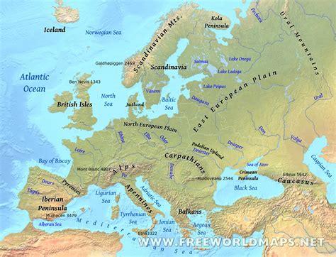 europe physical map freeworldmapsnet