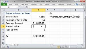 fv function get the future value in excel teachexcelcom With future value excel template