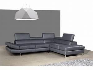 photos canape d39angle cuir gris conforama With conforama canapé cuir noir