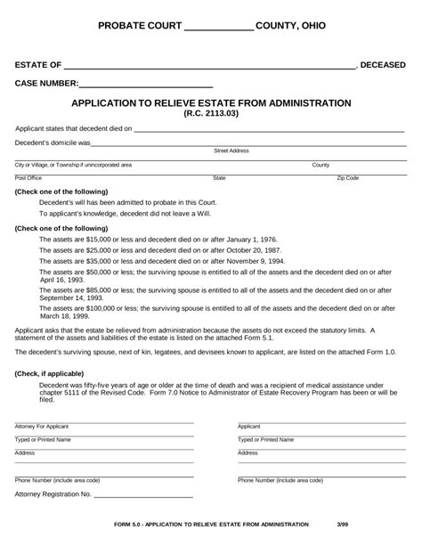 georgia small estate affidavit form free ohio small estate affidavit form application to