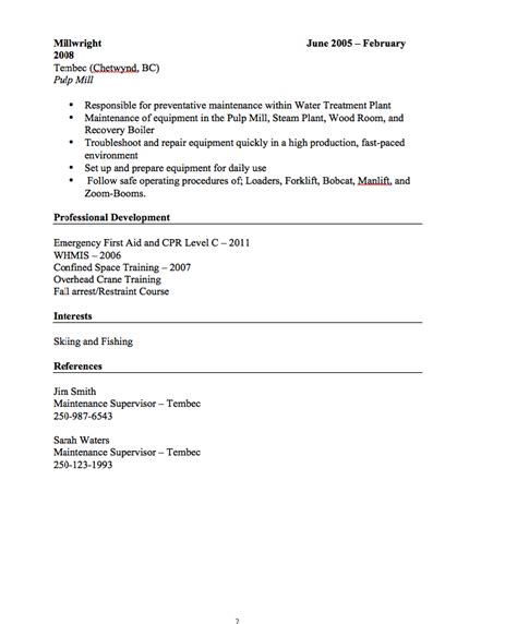 Millwright Resume by Millwright Resume Sle Http Resumesdesign