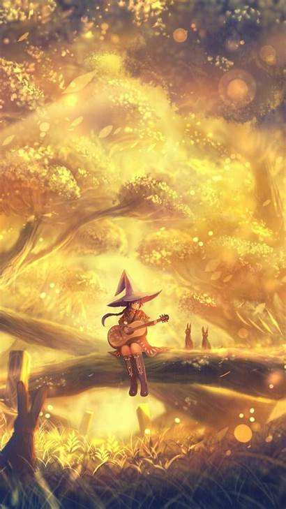 Anime Guitar Forest Landscape Playing Witch Hat