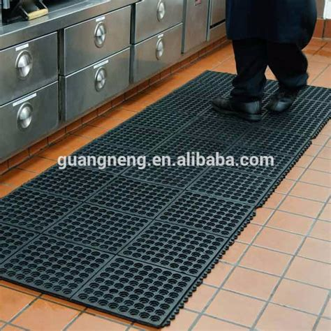 interlocking rubber floor tiles kitchen enclavamiento cocina drenaje de piso de goma mat 7581