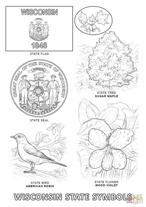 California State Symbols Coloring Pages Wisconsin State Symbols Coloring Page Free Printable