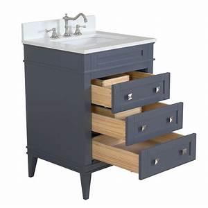 Eleanor 24 Quot Powder Room Bathroom Vanity With Quartz Top