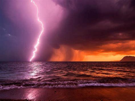 kalamaki beach lightning storm hd wallpaper wallpaper