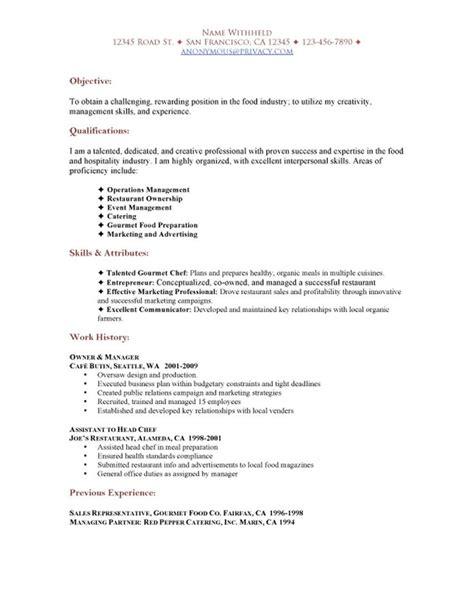 sle restaurant resumes restaurant functional resume