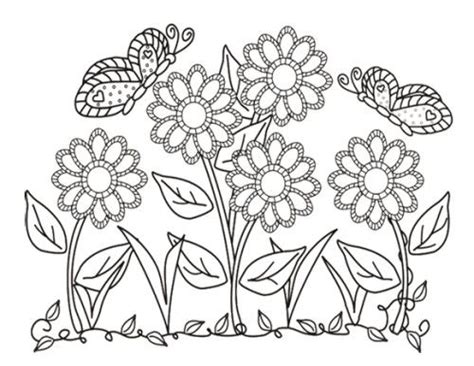 Flowers And Butterflies Coloring Pages