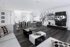 la decoration noir et blanc vous surprenda avec style et With deco salon moderne contemporain