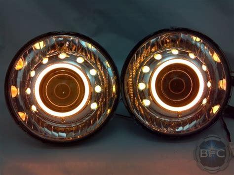 round custom headlights inch halos amber dual blackflamecustoms hella