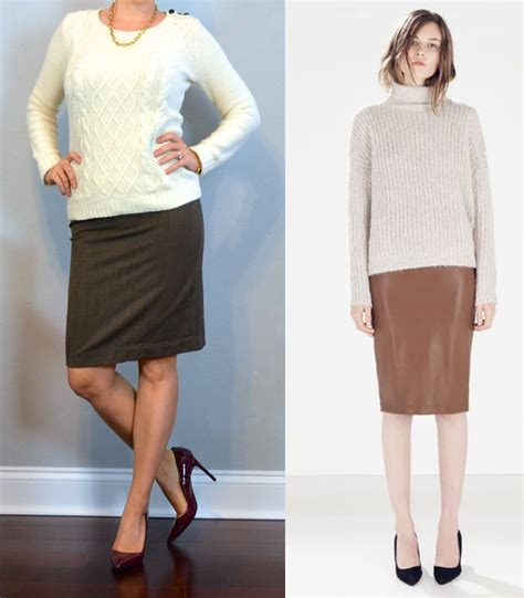 Outfit post cream cable knit brown pencil skirt burgundy pumps
