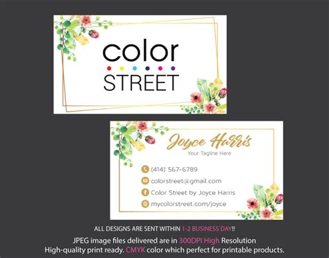 personalized color street business cards color