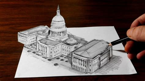 drawing   capitol building optical illusion trick