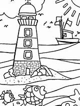 Coloring Pages Lighthouse Adults Beach Below Gaddynippercrayons Lighthouses Sheets sketch template