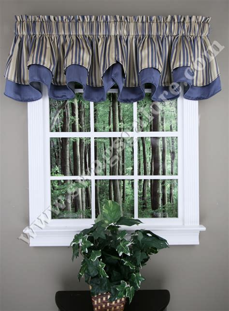 Blue Kitchen Valance by Layered Scalloped Curtain Valance Blue