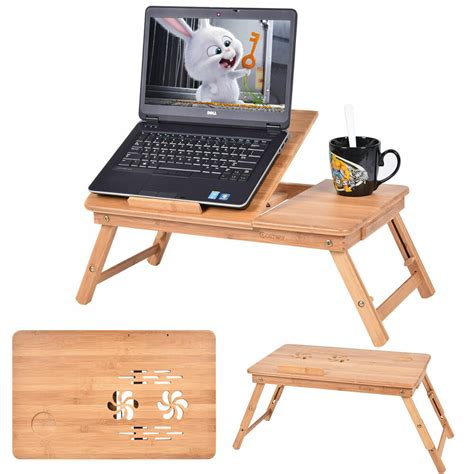 Desk For Bed by Portable Bamboo Laptop Desk Table Folding Breakfast Bed