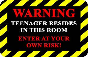 WARNING TEENAGER aluminum funny novelty door plaque