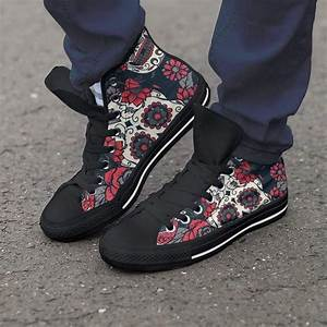 Red White And Black Skull Women High Top Shoes  U2013 Kaboodleworld
