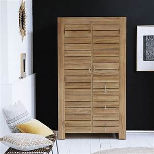 armoire double en teck armoire en bois massif minimalys With armoire en teck