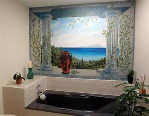 bathroom wallpaper murals home design With kitchen cabinets lowes with ancient greek wall art