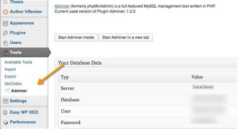 Access Phpmyadmin Inside Wordpress Dashboard