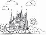 Coloring Mosque Masjid Islam Muslim Mewarnai Yayasan Batam sketch template
