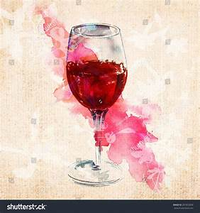 Watercolour Drawing Glass Red Wine On Stock Illustration ...