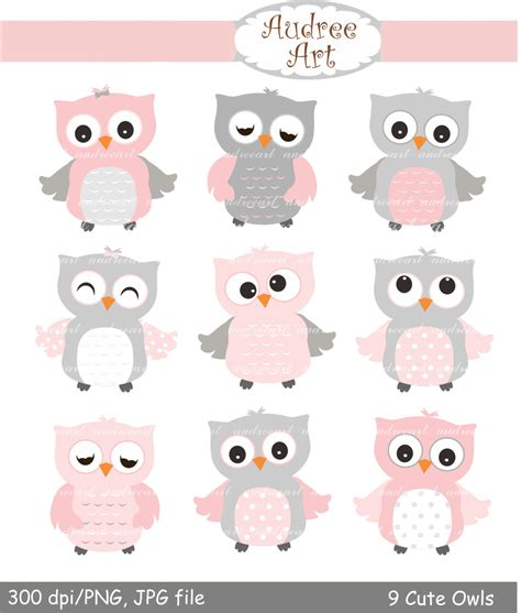 9 Cute Owls Clipart, Pink Owls, Baby Pink And Grey Owls