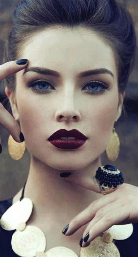 beautiful dark red lipstick      work   hair   pinterest