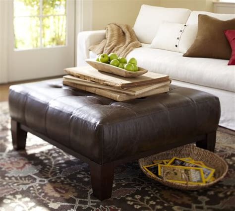 pottery barn leather coffee table sullivan leather square ottoman pottery barn