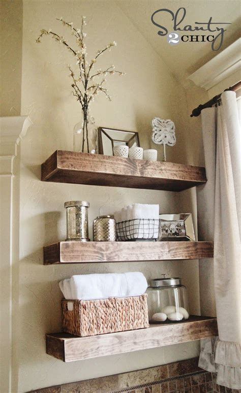 bathroom shelves decorating ideas diy floating shelves reclaimed wood woodguides
