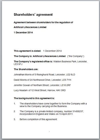 Simple Shareholders Agreement Template by Where To Find The Best Start Up Shareholders Agreement