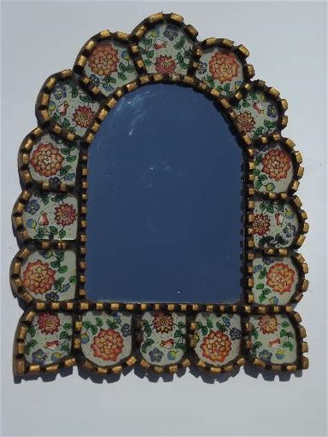 mexican folk art mirror picture frame carved wood