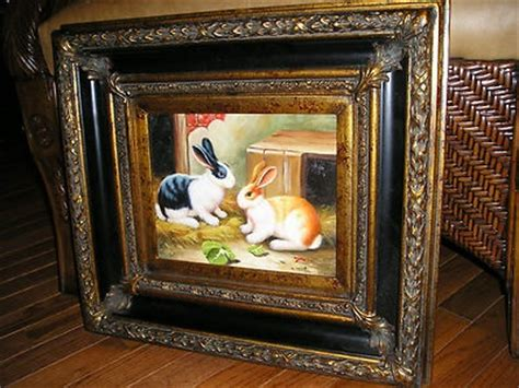 country french framed oil painting rabbits pierre deux